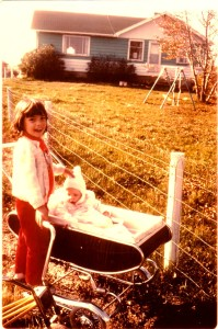 Sherry with her baby sister, Vicki in Three Hills, Alberta
